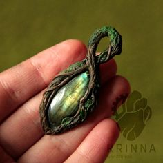WIP Forest pendant (polymer clay and labradorite) by Krinna.deviantart.com on @DeviantArt: