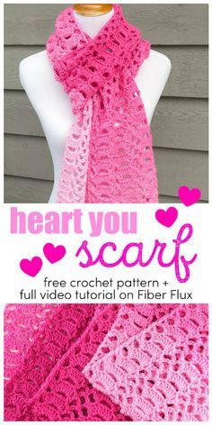 The Heart You Scarf is a beautiful crochet scarf in an all over open fan pattern. Stitched up with gorgeous ombre pink yarn, it is . pink Heart You Scarf, Free Crochet Pattern + Video Crochet Scarves, Crochet Shawl, Crochet Clothes, Crochet Hooks, Crocheted Scarf, Crochet Gratis, Free Crochet, Beau Crochet, Ombre Yarn