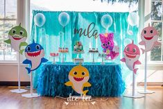"""If you have children, chances are you've heard the song """"Baby Shark"""" at least 500 times. The incessantly catchy song first gained attention in Shark Birthday Cakes, Baby Boy 1st Birthday Party, 2nd Birthday Party Themes, First Birthday Parties, Birthday Ideas, Baby Hai, Shark Party Decorations, Party Ideas, Shower Party"""