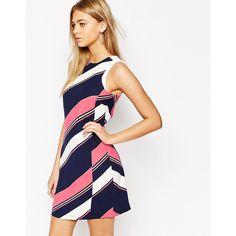 Oasis Diagonal Stripe Shift Dress ($34) ❤ liked on Polyvore featuring dresses, multi, zip dress, white shift dress, diagonal stripe dress, oasis dresses and tall dresses