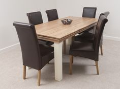 Country Cottage Painted Funiture 6ft Dining Table Leather Chairs Oak Furniture Land Oakfurnitureland
