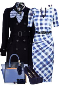 """Blue Checked Dress"" by lmm2nd on Polyvore"