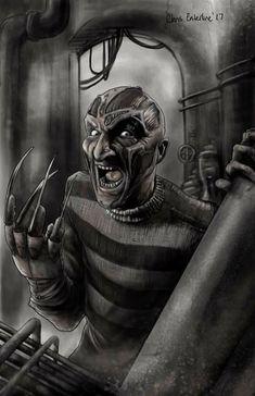 """Horror Movie Art : """"Freddy Krueger"""" by ChrisEnterline @ deviantart Horror Icons, Horror Films, Horror Art, Real Horror, Horror Drawing, Horror Movie Characters, Famous Monsters, Horror Show, Nightmare On Elm Street"""