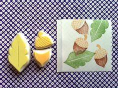acorn hand carved rubber stamps. acorn leaf stamp. par talktothesun