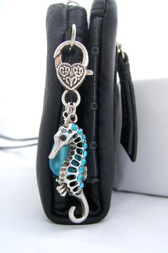 Silver SEAHORSE Purse Clip, Key Chain - Large Silver Seahorse Charm - Aqua Blue Teardrop Sea Glass dangle ~ Heart Lobster Clasp ~ Key Ring - pinned by pin4etsy.com
