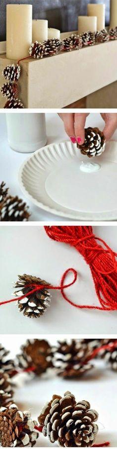 Décorations de Noël à faire soi-même, bougeoirs, pommes de pin, corde ruge