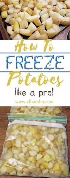 How to Freeze Potatoes Like A Pro Stop wasting your money on frozen potato products! Learn how to freeze potatoes at home and make your own french fries, hash browns and more for less than half the price! Freezing Potatoes, Freezing Vegetables, Freezing Fruit, Frozen Potatoes, Frozen Vegetables, Fruits And Veggies, Frozen Vegetable Recipes, Can You Freeze Potatoes, Canning Potatoes