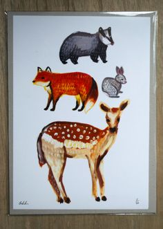 Wildlife print Fox badger deer rabbit by TheMightyInk on Etsy, £5.00