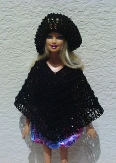 Barbie Clothes Doll Poncho and Slouchy Beanie Hat Set, V-neck Poncho, Crocheted, Black
