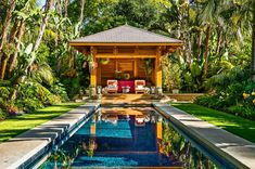 Everyone loves swimming pool designs, aren't they? We love to watch swimming pool pictures be Patio Tropical, Tropical Pool Landscaping, Backyard Pool Designs, Swimming Pool Designs, Backyard Patio, Backyard Landscaping, Landscaping Ideas, Tropical Plants, Backyard Ideas