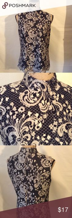 Talbots Lace top Black lace design over fawn. Mandarin look neck with zip back. Scalloped hem size 10 Talbots Tops Blouses
