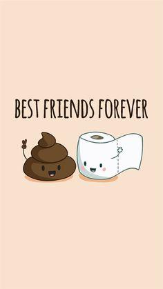 Friends Wallpaper Poop&Toiletpaper Go together. Like Peas& A pod. Best Friend Wallpaper, Cartoon Wallpaper Iphone, Cute Disney Wallpaper, Cute Cartoon Wallpapers, Kawaii Wallpaper, Drawing Wallpaper, 3d Wallpaper, Cute Food Wallpaper, Perfect Wallpaper