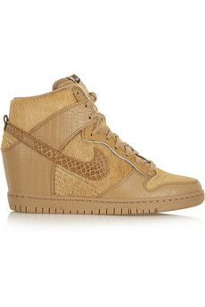 d9a3797c7116 Nike + Undercover Dunk Sky Hi leather and faux calf hair wedge sneakers