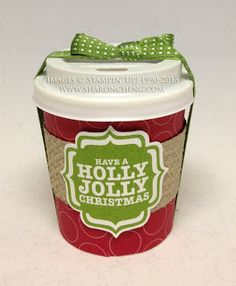 SHARING CREATIVITY and COMPANY: Stampin' Up! 3D Christmas Party Favors with Free Mini Coffee Cup Template