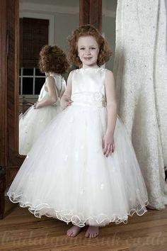 Organza Bateau A Line Flower Trimed Princess Customized Junior Prom Dress