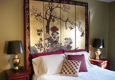 a folding screen as a headboard -- could work extraordinarily well in certain themed rooms