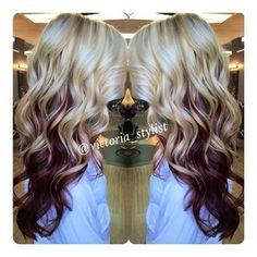 Burgundy Hair with Blonde Underneath - Bing Images Gorgeous Blonde, Gorgeous Hair, Love Hair, Great Hair, Look 2015, Corte Y Color, Burgundy Hair, Brown Hair, Reddish Brown
