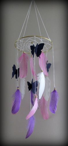 Dream catcher mobile,Nursery mobile, Purple dream catcher mobile, Baby Mobile…