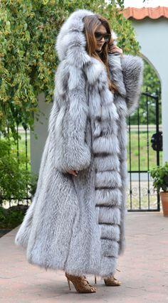 NEW PLATINUM FOX LONG FUR COAT HOOD CLASS- CHINCHILLA SABLE JACKET MINK SILVER   eBay