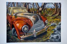 Pastel sec d'après photo d'une BMW 324, épave dans un sous bois. Le chemin en arrière plan s'est refermé, empêchent tout évasion de ce sous bois. De couleur rouge et beige, - 12472609 Creations, Photos, Pastel, Bmw, Beige, Etsy, Vintage, Vehicles, Colour Red