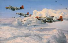 Fighting Red Tails - The Tuskegee Airmen by Robert Taylor - BFD Jet Fighter Pilot, Fighter Jets, Ww2 Aircraft, Fighter Aircraft, Military Jets, Military Aircraft, Tuskegee Airmen, Airplane Art, P51 Mustang