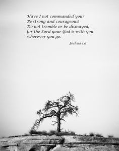 Joshua Bible Verse Prints, Christian Wall art, Scripture Prints, Have I not commanded you? Be strong and courageous! I Feel Alone, Feeling Alone, Be Strong And Courageous, You Are Strong, Joshua 1 9, Christian Wall Art, Black And White Abstract, Tree Art, Cliff