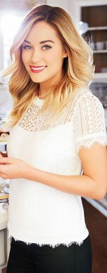 Who made Lauren Conrad's white lace short sleeve top?