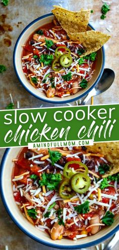 This easy, healthy slow cooker meal is the perfect cross between a hearty chili and a filling soup! Chicken Chili can be adapted to fit all sorts of diets. With just a few pantry ingredients and a few hours in a crock-pot, you can have a warming dinner for your family!