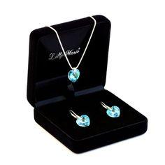 Parure in argento con Elementi Swarovski® originali, ciondolo a cuore, blu, dimensioni: 14 mm, con custodia per gioielli, ideale come regalo per mogli o fidanzate: Amazon.it: Gioielli