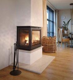 Dik Geurts Instyle Triple inzethaard , www. Wood Burning Stove Corner, Modern Wood Burning Stoves, Corner Stove, Home Fireplace, Fireplace Design, Inset Stoves, Ad Home, Interior And Exterior, Interior Design
