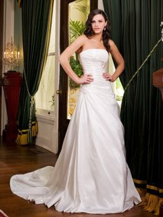 Dropped waist chapel train sleeveless taffeta charming bridal gown <--- w/e that means. Lol it's pretty tho