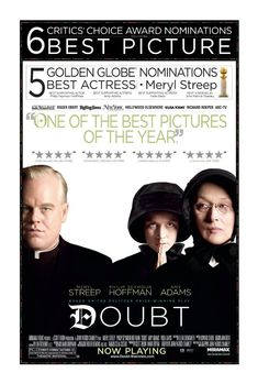 Doubt , starring Meryl Streep, Philip Seymour Hoffman, Amy Adams, Viola Davis. A Catholic school principal questions a priest's ambiguous relationship with a troubled 12-year-old student. #Drama #Mystery