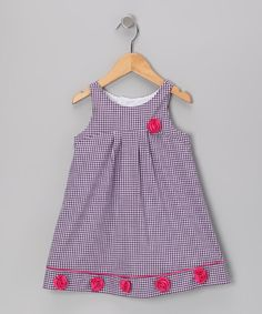 Take a look at this Purple Gingham Rosette Dress - Toddler on zulily today!