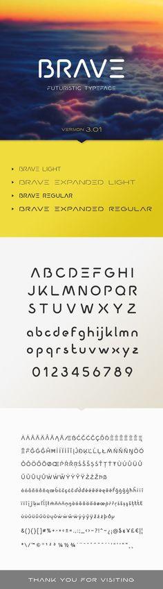 #Brave #Typeface - Futuristic #Decorative