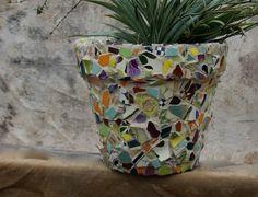 Large and Subtle Beige Beauty Mosaic Planter by MarchesaMosaics