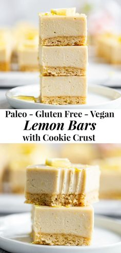These tart sweet lemon bars have a sugar cookie crust and creamy cashew based lemon layer. This healthy dessert is totally dairy free paleo vegan egg free and irresistible Paleo Dessert, Healthy Sweets, Healthy Dessert Recipes, Paleo Recipes Egg Free, Free From Dairy Desserts, Healthy Lemon Desserts, Cookie Recipes, Lemon Curd Dessert, Paleo Vegan
