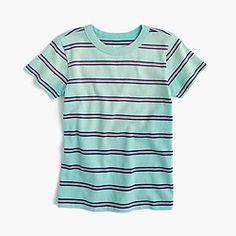 Boys' T-shirt in aqua stripe