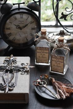 black elegance, rusty clock, shabby chic