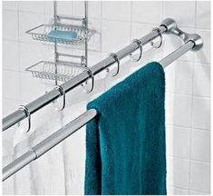 duo shower rod - Awesome use of space in a tiny bathroom! Or any bathroom, towels always seem to end up on the shower curtain rod Small Bathroom Storage, Bathroom Organization, Small Bathrooms, Organization Ideas, Storage Ideas, Creative Storage, Small Kitchens, Shower Curtain Rods, Shower Rods