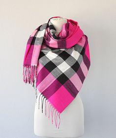 Plaid scarf Pashmina shawl Fuchsia pink shawl by violasboutique