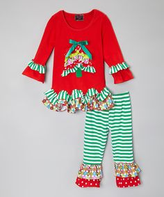 Love this Red Holiday Tree Ruffle Top & Pants - Infant, Toddler & Girls by Royal Gem on #zulily! #zulilyfinds