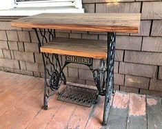 Items similar to Reclaimed Barn Wood table on antique Singer sewing machine . - Items similar to Reclaimed Barn Wood table on antique Singer sewing machine stand on Etsy - Antique Sewing Machine Table, Sewing Machine Drawers, Sewing Machine Projects, Antique Sewing Machines, Sewing Machine Cabinets, Vintage Sewing Table, Vintage Room, Singer Table, Singer Sewing Tables