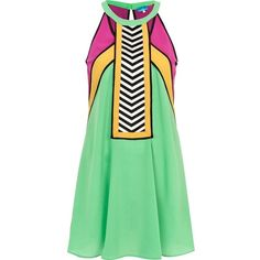 River Island Green colour block racer front dress (229.775 IDR) ❤ liked on Polyvore featuring dresses, sale and river island