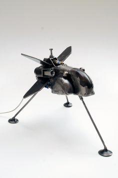 Metal sculpture spaceship and lamp TITAN Led light underneath Modern Art Sculpture, Spaceship Art, Science Fiction Art, Sci Fi Art, Star Wars Art, Surreal Art, Lovers Art, Art For Sale, Buy Art