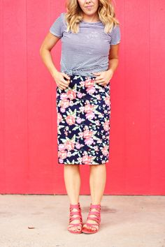 casual floral pencil skirt, strappy coral sandals, and striped tee. #colormeapparel and @pretty