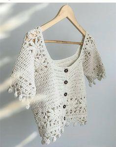Crochet Tank Tops, Crochet Summer Tops, Knit Crochet, Crochet Jacket, Crochet Cardigan, Crochet Shawl, Crochet Diagram, Crochet Patterns, Crochet Leaves