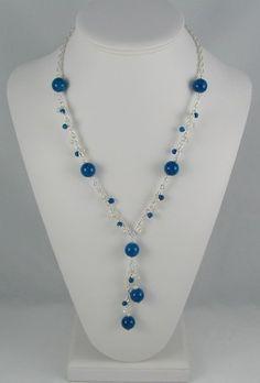 Blue Fossil with Fresh Water Pearls Necklace | Westtexasjewels - Jewelry on ArtFire