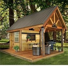 Cabin with covered porch...I want to build one in my backyard!