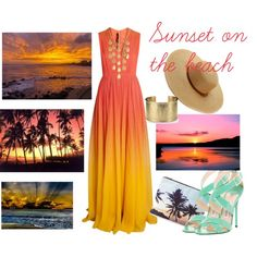 Sunset on the beach by florete on Polyvore featuring Elie Saab, Jimmy Choo, Forever 21, John Hardy, Blue Nile, Melissa Odabash, Summer, sunset, maxidress and summeroutfit