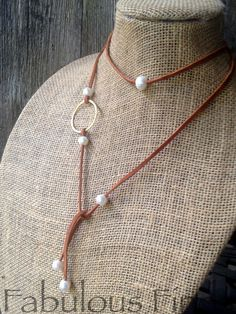 Pearl and Brass Circle Wrap Strand Necklace by loveFabulousFinds